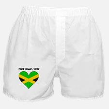 Custom Jamaica Flag Heart Boxer Shorts