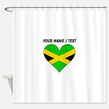Custom Jamaica Flag Heart Shower Curtain