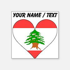 Custom Lebanon Flag Heart Sticker