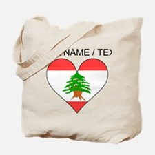 Custom Lebanon Flag Heart Tote Bag