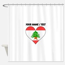 Custom Lebanon Flag Heart Shower Curtain