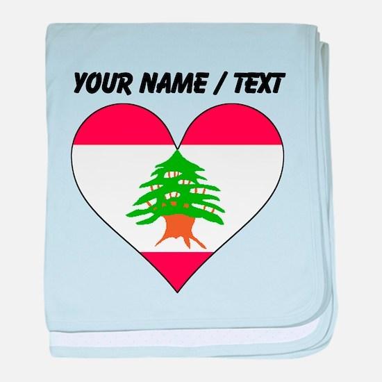 Custom Lebanon Flag Heart baby blanket