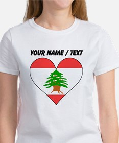 Custom Lebanon Flag Heart T-Shirt