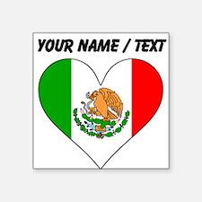 Custom Mexico Flag Heart Sticker