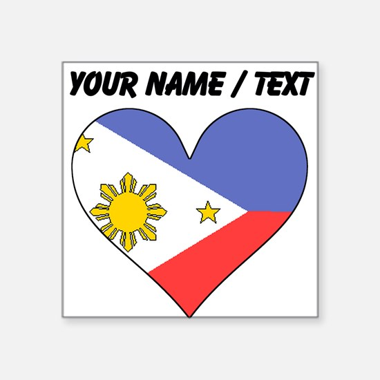 Custom Philippines Flag Heart Sticker