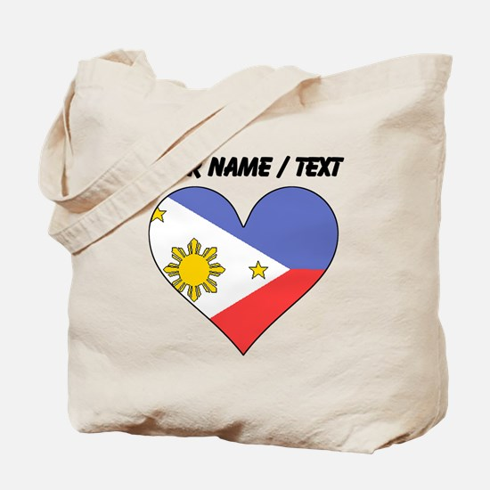 Custom Philippines Flag Heart Tote Bag