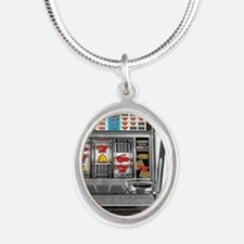 Casino Slot Machine Silver Oval Necklace