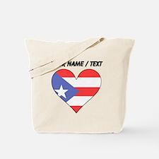 Custom Puerto Rico Flag Heart Tote Bag