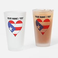 Custom Puerto Rico Flag Heart Drinking Glass