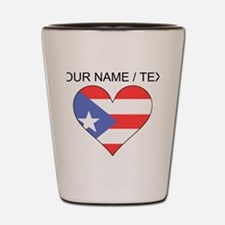 Custom Puerto Rico Flag Heart Shot Glass