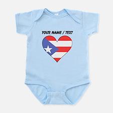 Custom Puerto Rico Flag Heart Body Suit