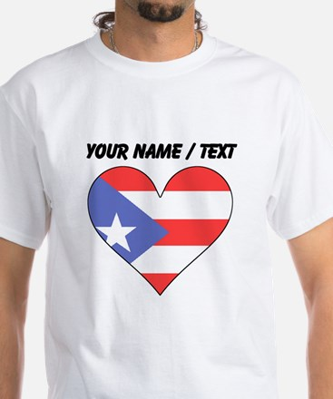 Custom Puerto Rico Flag Heart T-Shirt