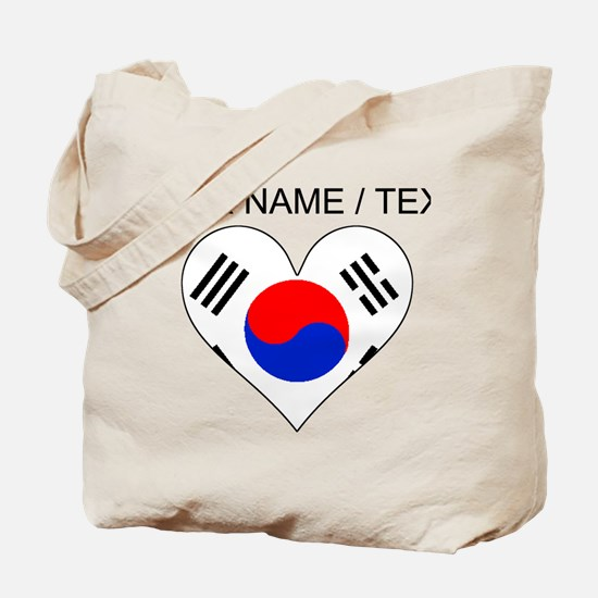 Custom South Korea Flag Heart Tote Bag