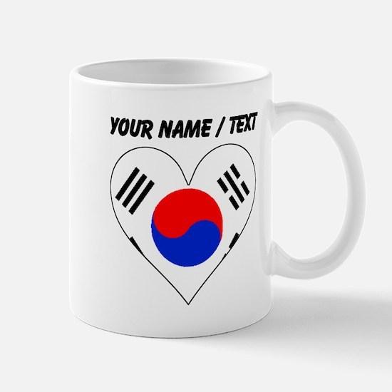 Custom South Korea Flag Heart Mugs