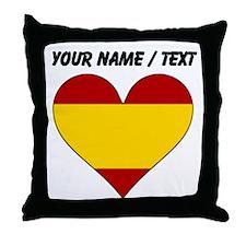 Custom Spain Flag Heart Throw Pillow