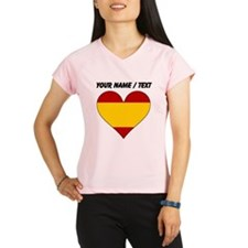 Custom Spain Flag Heart Performance Dry T-Shirt