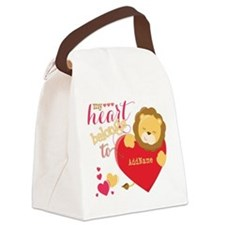 My Heart Belongs to Personalized Canvas Lunch Bag