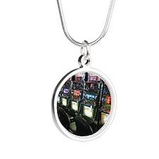Casino Slot Machine Silver Round Necklace