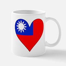 Taiwan Flag Heart Mugs