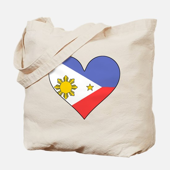 Philippines Flag Heart Tote Bag