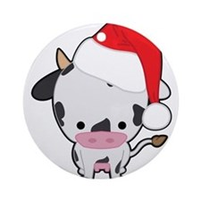 Holiday Cow Ornament (Round)