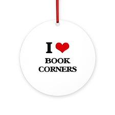 I Love Book Corners Ornament (Round)