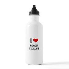 I Love Book Shelfs Water Bottle