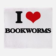 I Love Bookworms Throw Blanket