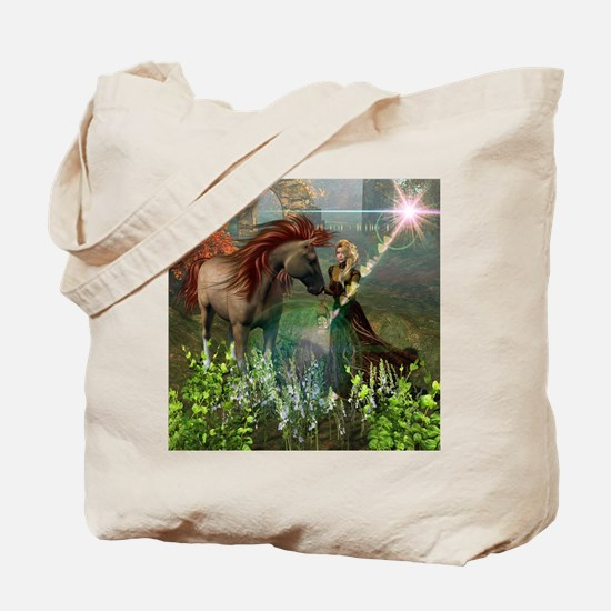 Beautiful elf with her horse Tote Bag