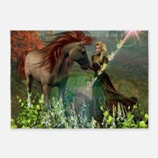 Beautiful elf with her horse 5'x7'Area Rug