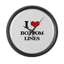 I Love Bottom Lines Large Wall Clock