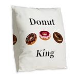Donut King Burlap Throw Pillow