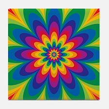 Rainbow Flower Tile Coaster