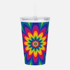 Rainbow Flower Acrylic Double-wall Tumbler