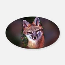 Fox Puppet Oval Car Magnet