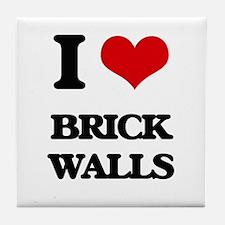 I Love Brick Walls Tile Coaster