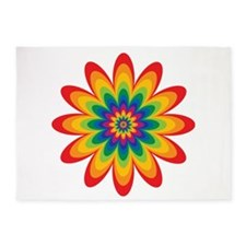 Rainbow Flower 5'x7'Area Rug