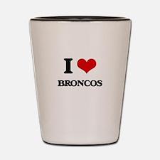 I Love Broncos Shot Glass