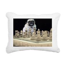 Sexy Pug Playing Chess i Rectangular Canvas Pillow