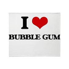 I Love Bubble Gum Throw Blanket