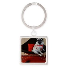 Sexy Pug with Heels Square Keychain