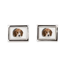 Beagle Close Up Rectangular Cufflinks