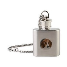 Beagle Close Up Flask Necklace
