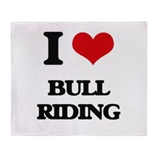 I Love Bull Riding Throw Blanket
