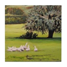 Geese And Olive Tree Tile Coaster