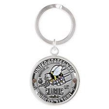 Funny Seabee construction Round Keychain