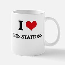 I Love Bus Stations Mugs