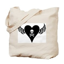 Skull + Heart + Wings Tote Bag