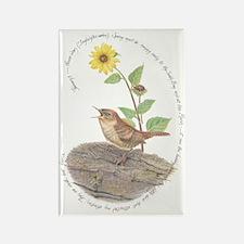 House Wren And Sunflower Magnets
