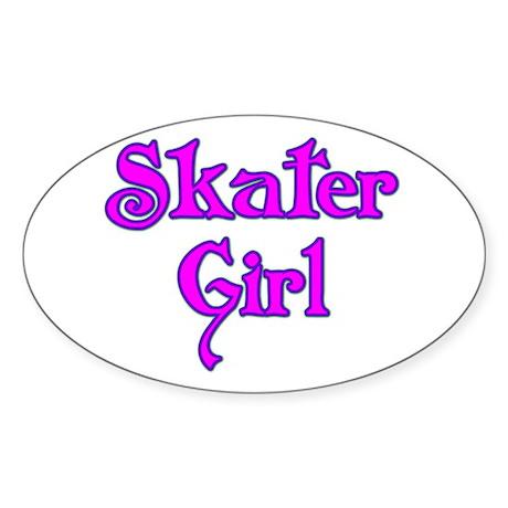 Skater Girl Oval Sticker